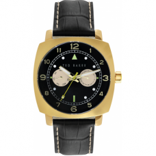 Ted Baker Hamilton Gold Plate  Black Dial  Black Leather Watch